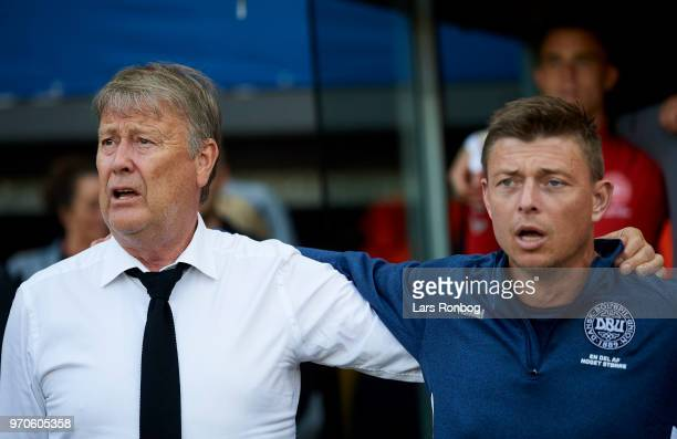 Age Hareide head coach of Denmark and Jon Dahl Tomasson assistant coach of Denmark prior to the international friendly match between Denmark and...
