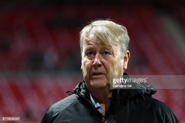 Age Hareide head coach of Denmark arrives at the stadium prior to the FIFA 2018 World Cup Qualifier PlayOff First Leg between Denmark and Republic of...
