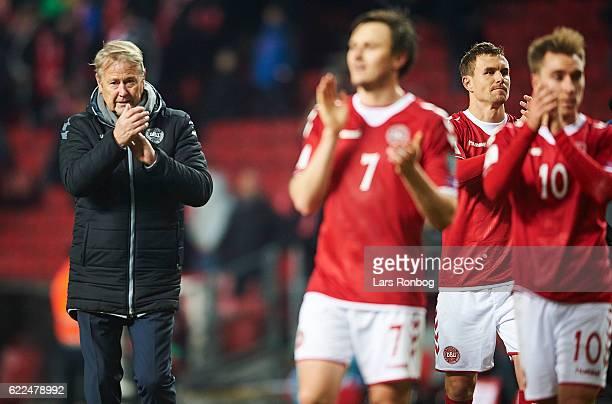 Age Hareide head coach of Denmark celebrates after the FIFA 2018 World Cup Qualifier match between Denmark and Kazakhstan at Telia Parken Stadium on...