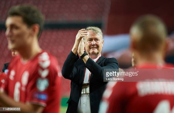 Age Hareide head coach of Denmark celebrates after the UEFA Euro 2020 Qualifier match between Denmark and Georgia at Telia Parken on June 10 2019 in...