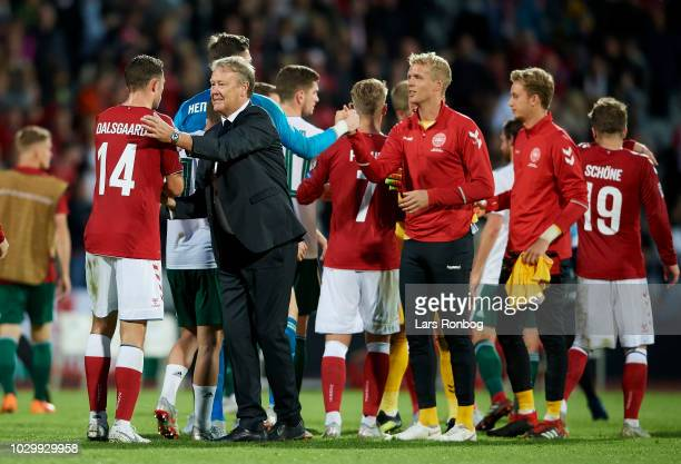 Age Hareide head coach of Denmark celebrates with Henrik Dalsgaard of Denmark after the UEFA Nations League match between Denmark and Wales at Ceres...