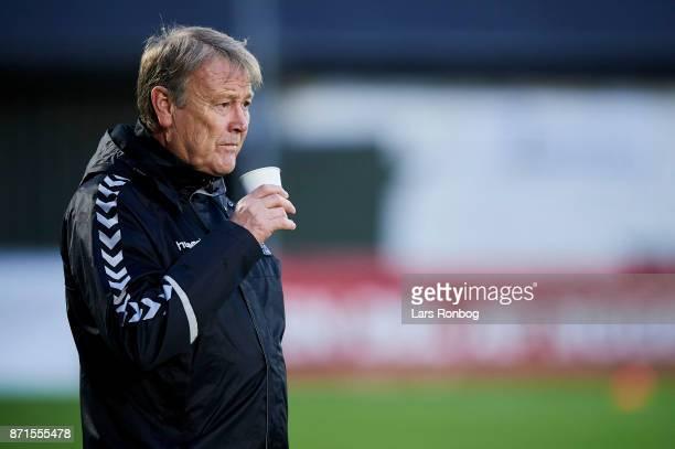 Age Hareide head coach of Denmark drinking coffee prior to the Denmark training session at Helsingor Stadion on November 7 2017 in Helsingor Denmark