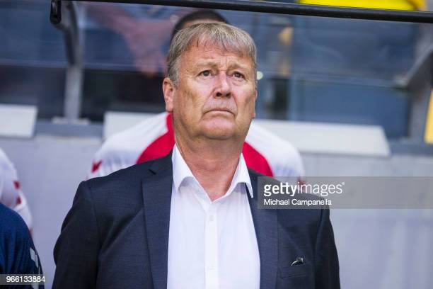 Age Hareide head coach of Denmark during an international friendly match between Sweden and Denmark at Friends Arean on June 2 2018 in Stockholm...