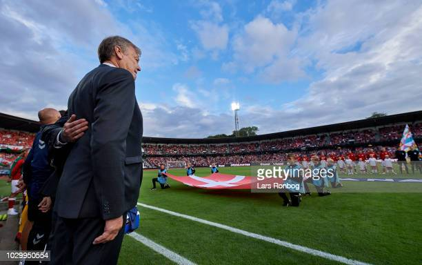 Age Hareide head coach of Denmark during the danish national anthem prior to the UEFA Nations League match between Denmark and Wales at Ceres Park on...