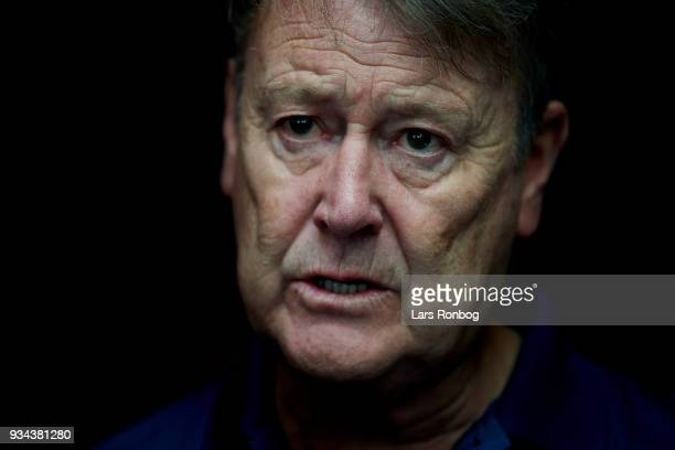 Age Hareide head coach of Denmark during the Denmark press conference at Clarion Hotel Copenhagen Airport on March 19 2018 in Copenhagen Denmark