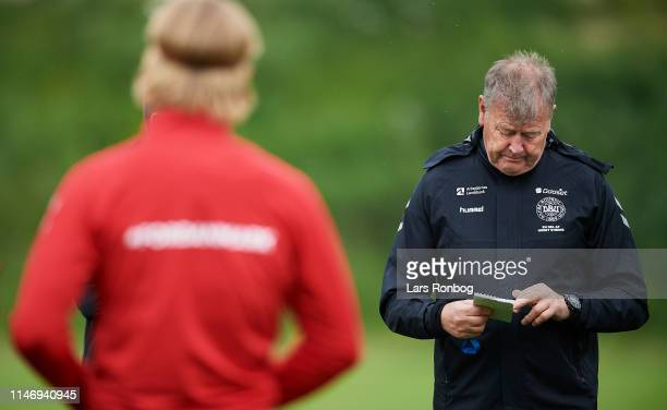 Age Hareide head coach of Denmark during the Denmark training session at Brondby Stadion on May 30 2019 in Brondby Denmark