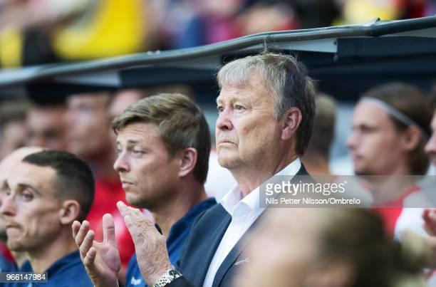 Age Hareide head coach of Denmark during the International Friendly match between Sweden and Denmark at Friends Arena on June 2 2018 in Solna Sweden