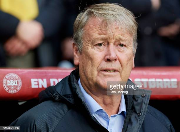 Age Hareide head coach of Denmark during the national anthem prior to the FIFA World Cup 2018 qualifier match between Denmark and Romania at Telia...