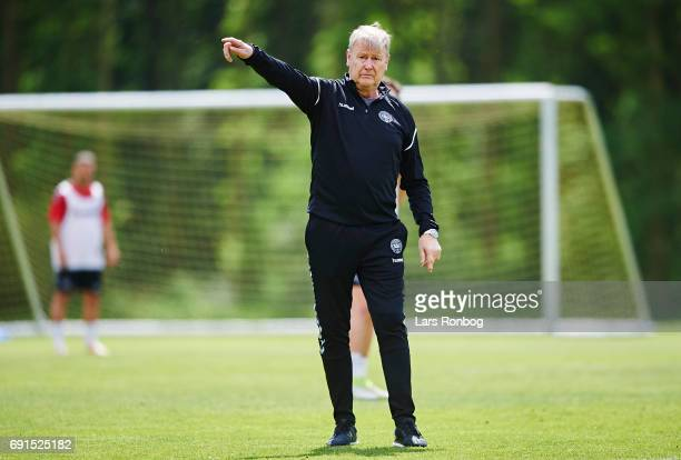 Age Hareide head coach of Denmark gestures during the Denmark training session at Brondby Stadion on June 2 2017 in Brondby Denmark