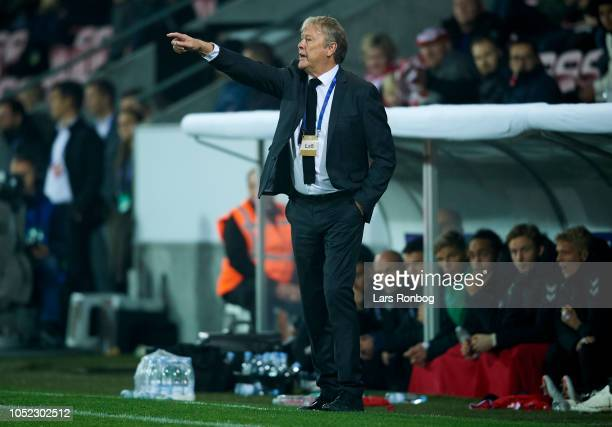 Age Hareide head coach of Denmark gestures during the international friendly match between Denmark and Austria at MCH Arena on October 16 2018 in...