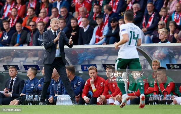 Age Hareide head coach of Denmark gestures during the UEFA Nations League match between Denmark and Wales at Ceres Park on September 9 2018 in Aarhus...