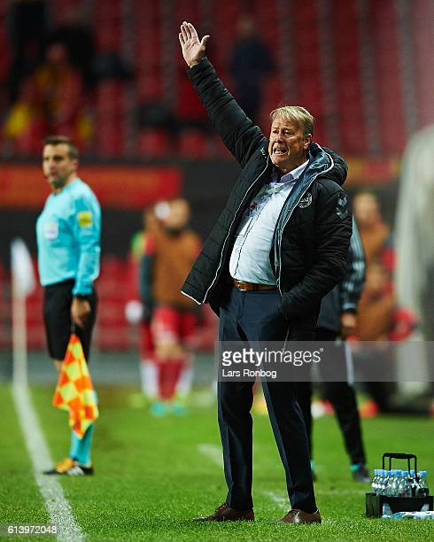 Age Hareide head coach of Denmark in action during the FIFA World Cup 2018 european qualifier match between Denmark and Montenegro at Telia Parken...