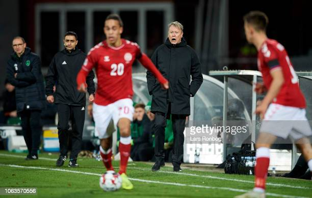 Age Hareide head coach of Denmark in action during the UEFA Nations League match between Denmark and Ireland at Ceres Park on November 19 2018 in...
