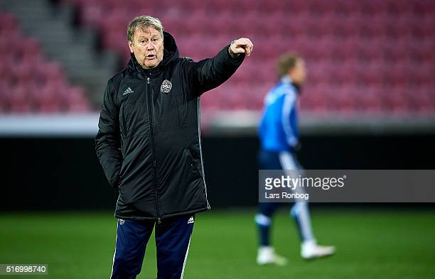 Age Hareide head coach of Denmark in action during to the Denmark training session at MCH Arena on March 22 2016 in Herning Denmark