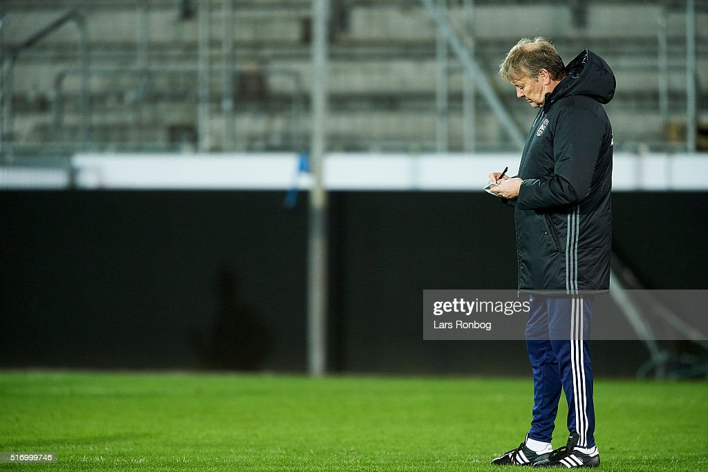 Age Hareide, head coach of Denmark in action during to the Denmark training session at MCH Arena on March 22, 2016 in Herning, Denmark.
