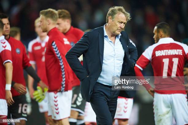 Age Hareide head coach of Denmark leaving the pitch after the international friendly match between Denmark and Germany at Brondby Stadion on June 6...