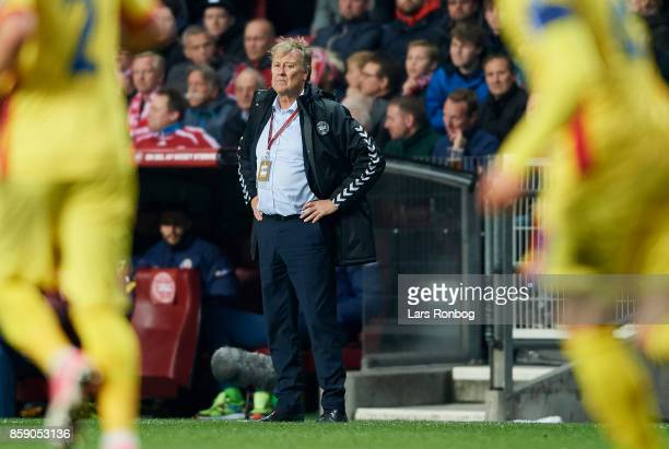 Age Hareide head coach of Denmark looks on during the FIFA World Cup 2018 qualifier match between Denmark and Romania at Telia Parken Stadium on...