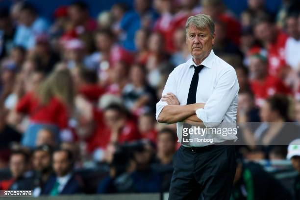 Age Hareide head coach of Denmark looks on during the international friendly match between Denmark and Mexico at Brondby Stadion on June 9 2018 in...