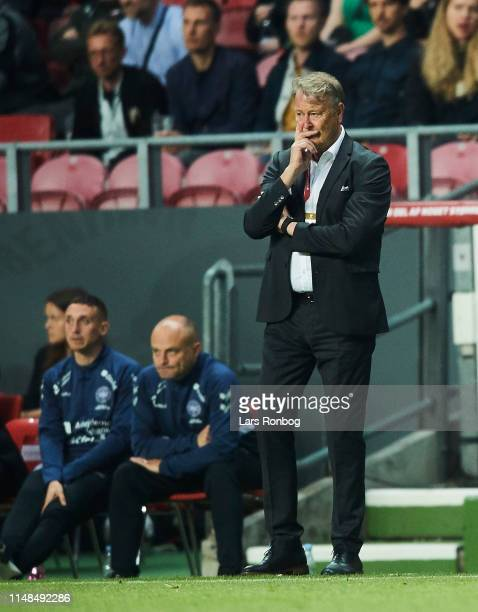 Age Hareide head coach of Denmark looks on during the UEFA Euro 2020 Qualifier match between Denmark and Ireland at Telia Parken on June 6 2019 in...