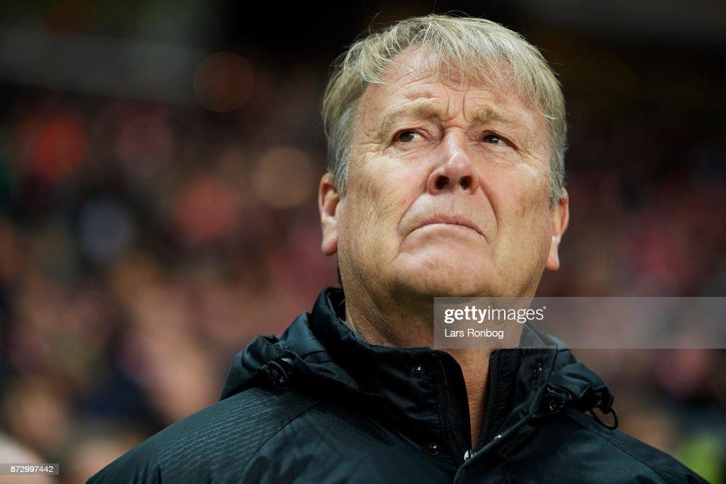 Age Hareide, head coach of Denmark looks on prior to the FIFA 2018 World Cup Qualifier Play-Off First Leg match between Denmark and Republic of Ireland at Telia Parken Stadium on November 5, 2017 in Copenhagen, Denmark.