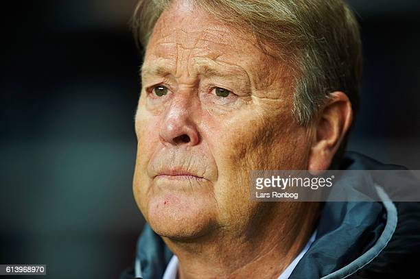 Age Hareide head coach of Denmark looks on prior to the FIFA World Cup 2018 european qualifier match between Denmark and Montenegro at Telia Parken...