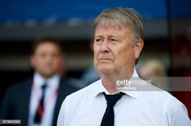 Age Hareide head coach of Denmark looks on prior to the international friendly match between Denmark and Mexico at Brondby Stadion on June 9 2018 in...