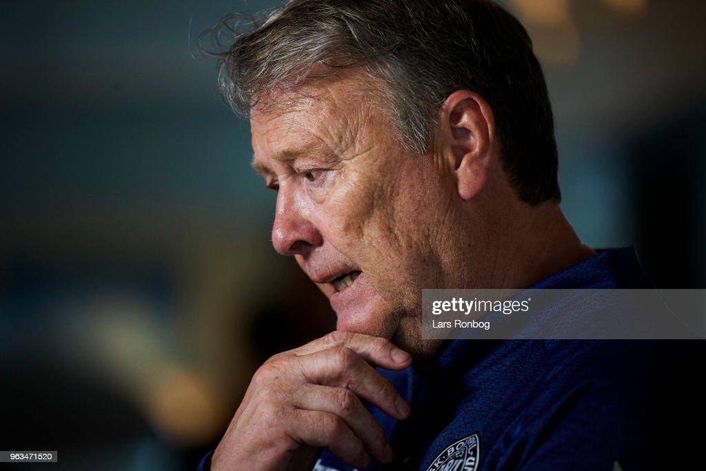 Age Hareide, head coach of Denmark on the press conference prior to the Denmark training session Helsingor Stadion on May 28, 2018 in Helsingor, Denmark.