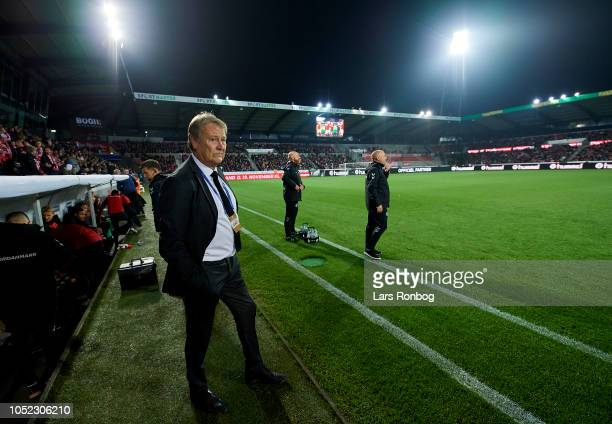 Age Hareide head coach of Denmark prior to the international friendly match between Denmark and Austria at MCH Arena on October 16 2018 in Herning...