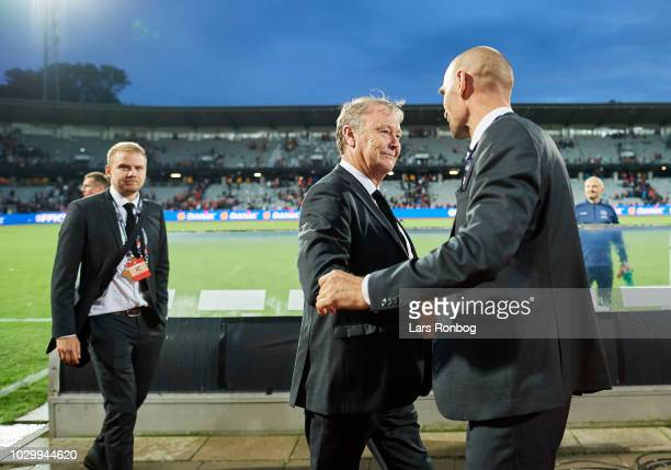 Age Hareide head coach of Denmark shake hands with Claus BrettonMeyer director of Danish FA after the UEFA Nations League match between Denmark and...