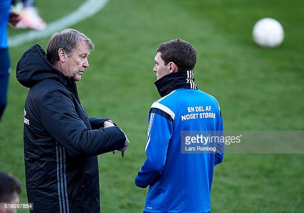 Age Hareide head coach of Denmark speaks to Andreas AC Christensen during the Denmark training session at MCH Arena on March 22 2016 in Herning...
