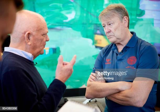 Age Hareide head coach of Denmark speaks to Flemming Toft journalist of TV2 Sporten during the Denmark press conference at Clarion Hotel Copenhagen...