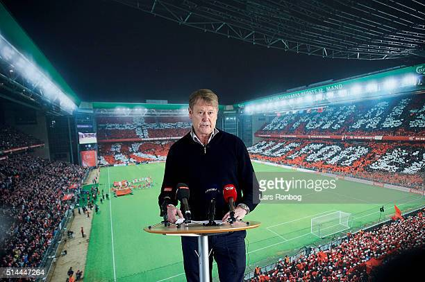 Age Hareide head coach of Denmark speaks to the media during the Danish FA Press Conference at DBU on March 9 2016 in Brondby Denmark