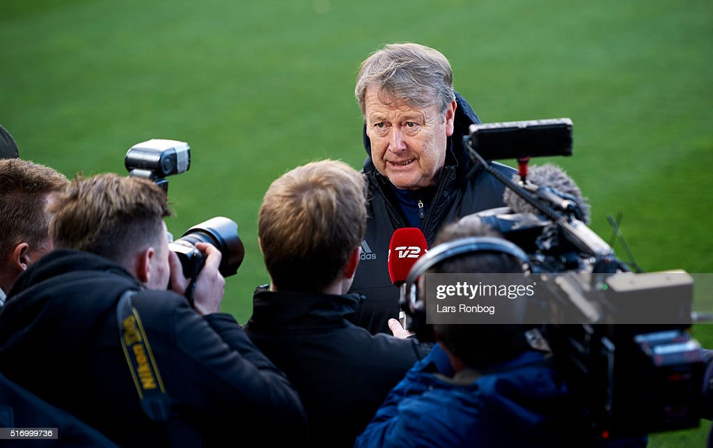 Age Hareide, head coach of Denmark speaks to the media prior to the Denmark training session at MCH Arena on March 22, 2016 in Herning, Denmark.