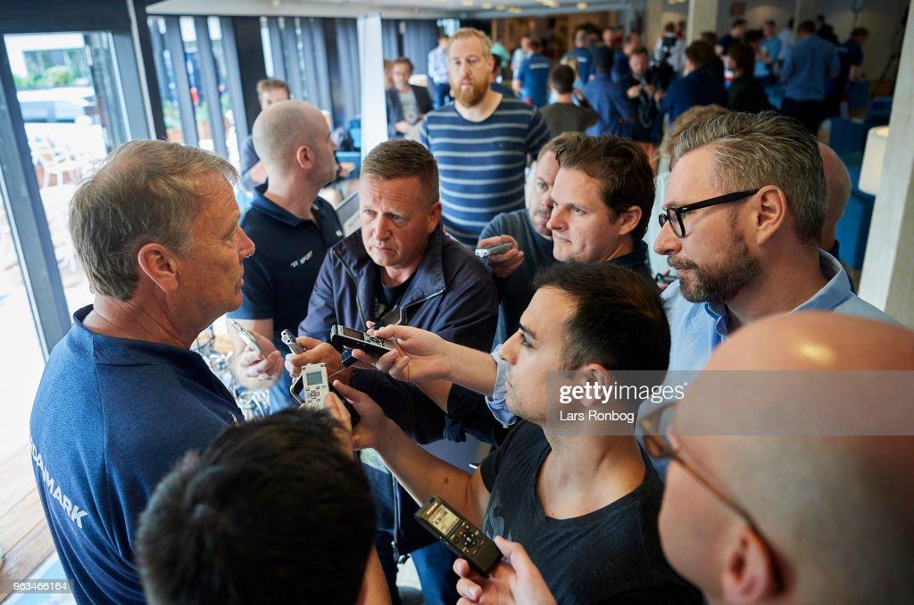 Age Hareide, head coach of Denmark speaks to the media prior to the Denmark training session Helsingor Stadion on May 28, 2018 in Helsingor, Denmark.
