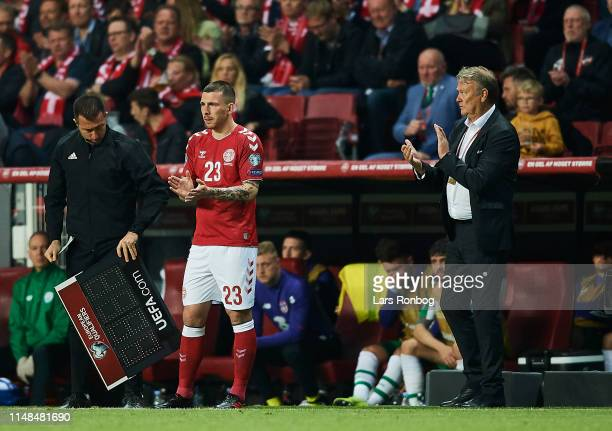 Age Hareide head coach of Denmark watching Pierre Emile Hojbjerg of Denmark entering the pitch during the UEFA Euro 2020 Qualifier match between...