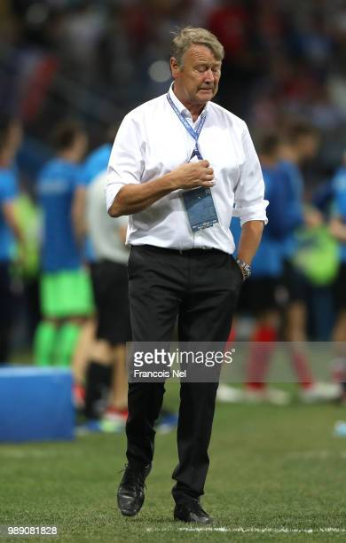 Age Hareide looks on during the 2018 FIFA World Cup Russia Round of 16 match between Croatia and Denmark at Nizhny Novgorod Stadium on July 1 2018 in...