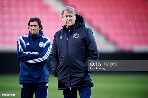 Age Hareide looks on during the Denmark training session at MCH Arena on March 22 2016 in Herning Denmark
