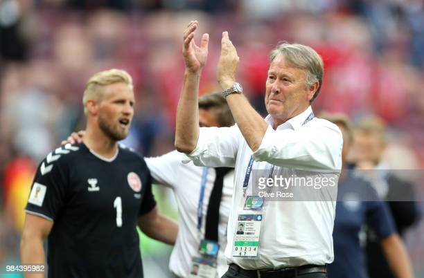Age Hareide Manager of Denmark acknowledges the fans following the 2018 FIFA World Cup Russia group C match between Denmark and France at Luzhniki...