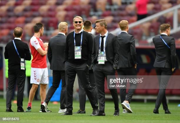 Age Hareide Manager of Denmark and his assistant John Dahl Tomasson look on prior to the 2018 FIFA World Cup Russia group C match between Denmark and...