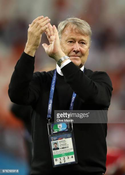 Age Hareide Manager of Denmark applauds fans after the 2018 FIFA World Cup Russia group C match between Peru and Denmark at Mordovia Arena on June 16...