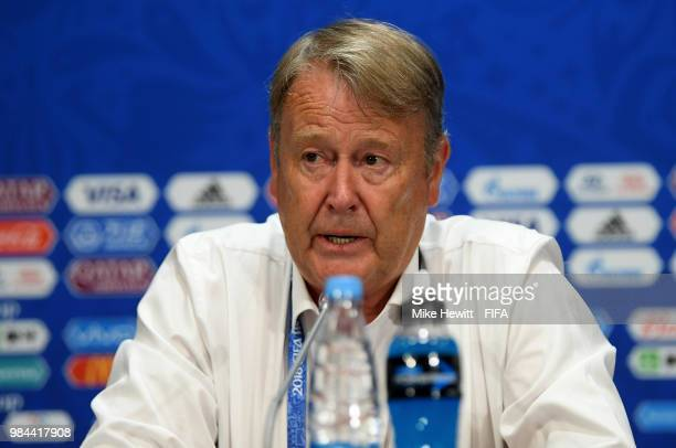 Age Hareide Manager of Denmark attends the post match press conference during the 2018 FIFA World Cup Russia group C match between Denmark and France...