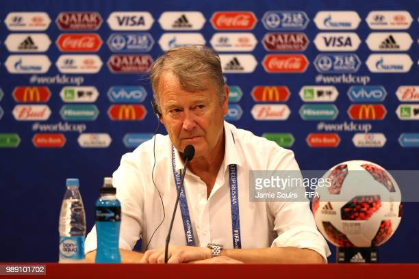 Age Hareide Manager of Denmark attends the post match press conference following the 2018 FIFA World Cup Russia Round of 16 match between Croatia and...