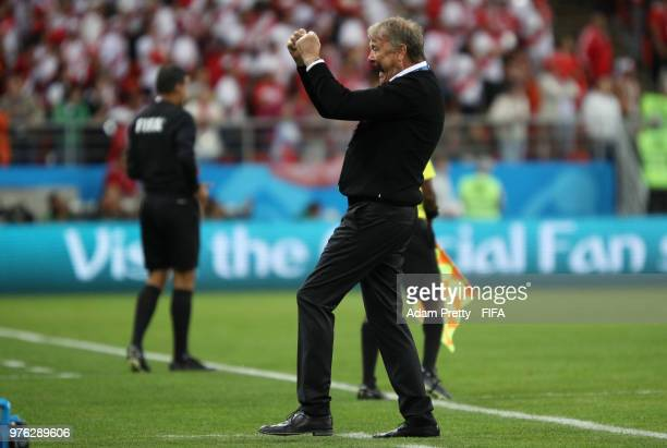 Age Hareide Manager of Denmark celebrates during the 2018 FIFA World Cup Russia group C match between Peru and Denmark at Mordovia Arena on June 16...