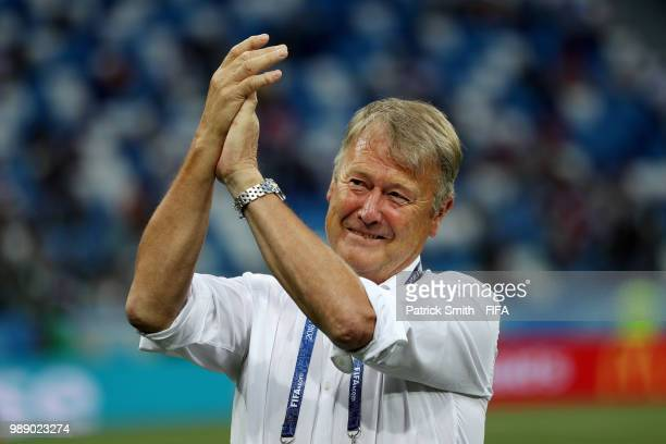Age Hareide Manager of Denmark cheers the fans prior to the 2018 FIFA World Cup Russia Round of 16 match between Croatia and Denmark at Nizhny...