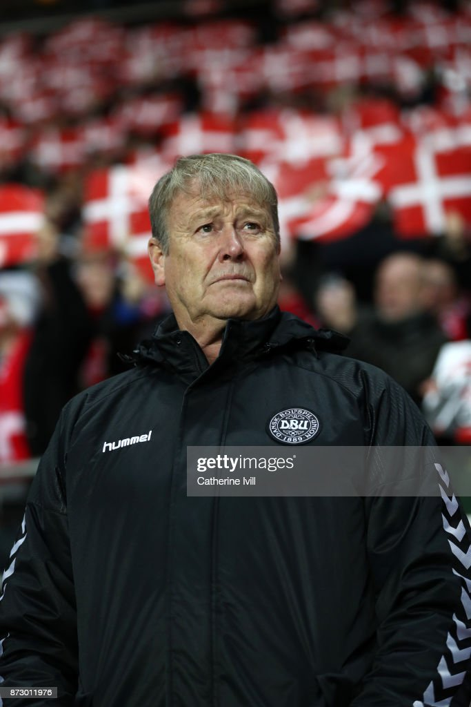 Age Hareide manager of Denmark during the FIFA 2018 World Cup Qualifier Play-Off: First Leg between Denmark and Republic of Ireland at Telia Parken on November 11, 2017 in Copenhagen, Denmark.