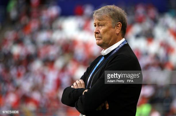 Age Hareide Manager of Denmark looks on during the 2018 FIFA World Cup Russia group C match between Peru and Denmark at Mordovia Arena on June 16...