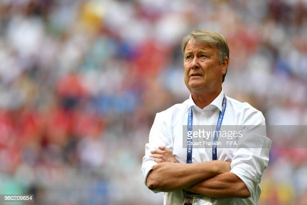 Age Hareide Manager of Denmark looks on during the 2018 FIFA World Cup Russia group C match between Denmark and Australia at Samara Arena on June 21...