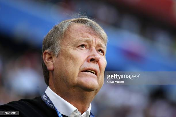 Age Hareide Manager of Denmark looks on prior to the 2018 FIFA World Cup Russia group C match between Peru and Denmark at Mordovia Arena on June 16...