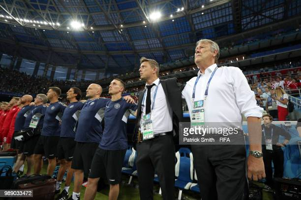Age Hareide Manager of Denmark looks on prior to the 2018 FIFA World Cup Russia Round of 16 match between Croatia and Denmark at Nizhny Novgorod...