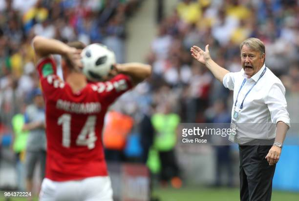 Age Hareide Manager of Denmark reacts during the 2018 FIFA World Cup Russia group C match between Denmark and France at Luzhniki Stadium on June 26...